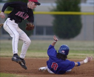 Daniel played baseball too...til he broke his ankle.  Thats him sliding.