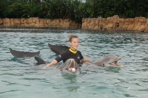 My baby girls love!  Discovery Cove in Orlando - 2007